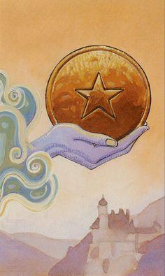 Ace of Coins - Secret Tarot, Marco Nizzoli Ace Of Pentacles, Tarot Meanings, Warcraft Art, Online Tarot, Angel Cards, Oracle Cards, Tarot Decks, Numerology, Tarot Cards