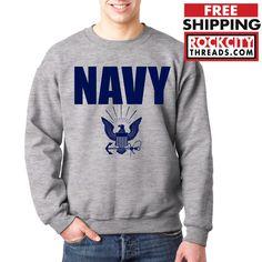 NAVY CREW NECK GRAY Military Hooded Sweatshirt Blend Seal US U.S.NAVY USNAVY USA #RockCityThreads #SweatshirtCrew