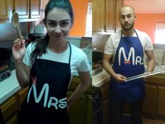 Mr. & Mrs. Disney COUPLES APRON Inspired 24 X 28 by AwkwardStyles, $24.00