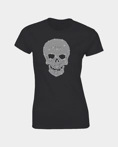 This skull is a Loveglitz design made from nearly 900 SS16 Rhinestone Crystals diamantes on a top quality cotton Tee.    This design Measures:    15cm (width) x 21cm (high)    All sizes and colors available.  Size           S             M     L            XL   2XL    Dress Size   6              8             10-12      14   16 | Shop this product here: http://spreesy.com/igani/79 | Shop all of our products at http://spreesy.com/igani    | Pinterest selling powered by Spreesy.com