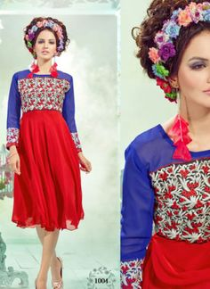 RoyalBlue and Red1004 Embroidered Georgette Stitched Party Wear Kurti at Zikimo