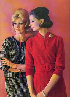 Boulevard Fashions by Bernat 1962 style color photo print ad models magazine suit sweater knit dress red belt 60s And 70s Fashion, Retro Fashion, Vintage Fashion, Vintage Glamour, Vintage Ladies, Vintage Models, Vintage Hair, Vintage Vogue, Vintage Dresses