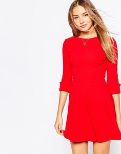 Club L Skater Dress with Button Sleeve Detail