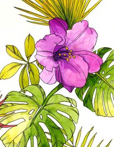 Tropical Flower Watercolor