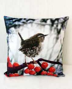 Cushion cover for throw pillow with bird  Winter by Mirthquake, $40.00
