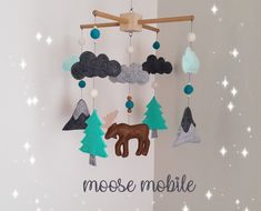 Your place to buy and sell all things handmade Woodland Mobile, Felt Tree, Baby Crib Mobile, Felt Ball, Animal Nursery, Felt Animals, Wooden Beads, Cute Gifts, Baby Room