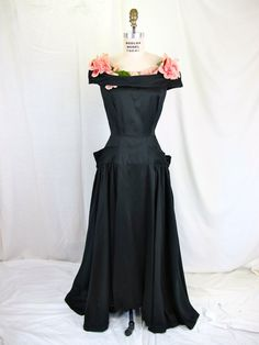 1930's Black and Rose Evening Dress Couture by tovasvintage, $375.00