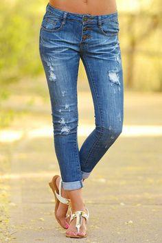 MACHINE Distressed Crop Jeans - 3 Button