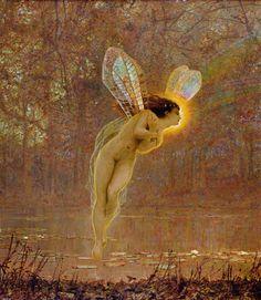 Iris, detail of the fairy, 1886 - John Atkinson Grimshaw - Leeds Art Gallery Prints Artist Canvas, Canvas Art, Canvas Prints, Canvas Size, Painting Frames, Painting Prints, Art Prints, Wicca, Leeds Art Gallery