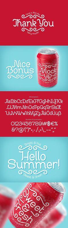 Sweet & Fresh font with Mockup Ttf Fonts, Retro Graphic Design, Modern Typeface, Cool Fonts, Label Design, Mockup, Templates, Fresh, Shapes