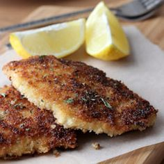 Chicken schnitzel: thin and crisp chicken filets with a hint of dijon mustard. A must try.