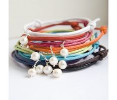 Pearl Friendship Bracelet in rainbow colours #handmade and very pretty!
