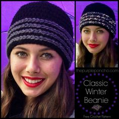 Classic Winter Beanie...Featuring Red Heart Super Saver and Reflective Yarns! found on thepurpleponcho.com