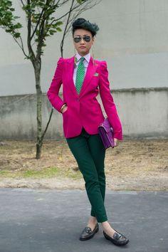Esther Quek in a punchy suit