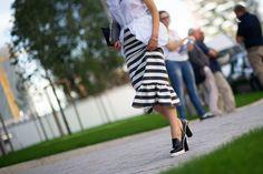 Striped Skirt. Milan Fashion Week