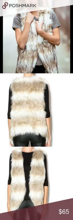 Two tone faux fur vest Two tone faux fur vest that extends past the waist. Colors are cream and ash brown. Must have fall piece! Skies Are Blue Jackets & Coats Vests