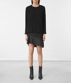 Womens Shea Sleeve Dress (Black) - product_image_alt_text_1