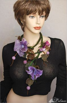 ~ F e l t i n g ~: Felted Necklace Lilac Flowers