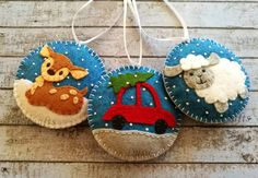 Felt christmas ornaments - set of 3 / blue background This listing is for 3 ornaments If you would like different combination of 3 ornaments, please message me or leave a note while placing an order. Size about 8 cm Material wool blend felt Handmade from felt with high precision and