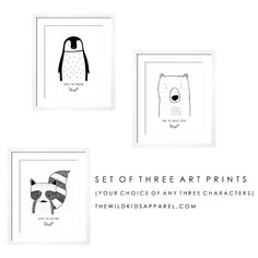 Set of three Modern Custom Art Prints by The Wild - Your choice of any three characters Baby Porcupine, Modern Art Prints, Modern Outfits, Custom Art, Sloth, Home Gifts, Card Stock, Gallery Wall, Kids Rooms