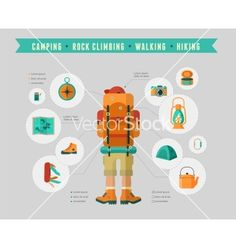 Hiking and camping equipment - icon set and vector infographic - by ma_rish on VectorStock®