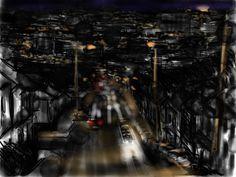 Craig Longmuir, 'Granville Road, Sheffield', iPad drawing, en plein air