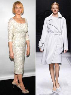 50s: Winter whites give off a cool air - Ellen Barkin; Alberta Ferretti Fall 2012