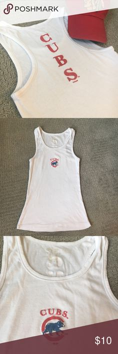 "⚾️Chicago Cubs⚾️ Racerback Tank Top Celebrate that World Series win!!! GO CUBS GO!! racerback tank with ""cubs"" printed down the back and a logo on the front. Worn, but good! Small spot on the back and some wear around the neck Tops Tank Tops"