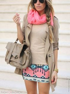 Nude top would work!  Love that the scarf picks up a color in the skirt to pop it!