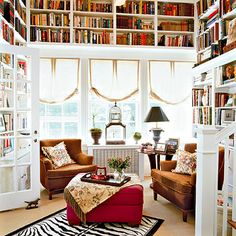 On my last post I gave you some inspirations of home office photos, today I would like to give you another inspirations for a home Library a. Cozy Home Library, Home Library Design, Dream Library, Beautiful Library, Local Library, Future Library, Library Ideas, Mini Library, Library Inspiration