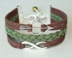 Made in CANADA - Pick COLOR / SIZE -  Bow and Arrow / Infinity Charm Braid Bracelet - Faux Suede Leather Cord w/ Dangle Extension via Etsy