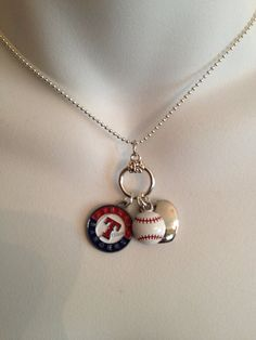 Texas Rangers necklace... could I get a yanks or rockies one!?? My Rangers, Texas Rangers, Rangers Gear, Rangers Baseball, Baseball Crafts, Baseball Party, Baseball Season, Baseball Stuff, Baseball Mom