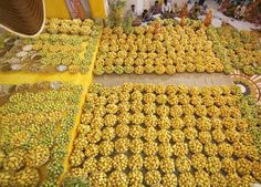 Hindu devotees sing religious songs next to baskets of mangoes kept as offerings for the Hindu God Lord Krishna inside a temple during mango festival in the western Indian city of Ahmedabad.