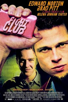 Fight Club. Good movie, better book of course. We always say that and it's usually true. Now if you go back and and read the book, your brain will narrate the parts in Brad Pitt's and Ed Norton's voice. Helena Bonham Carter could be the loveliest actor of our time. (With all do respect toe Mrs. Smith, who is an artist, not just an actor.