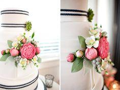 preppy striped wedding cake with a nautical rope theme Wedding Color Schemes, Wedding Colors, Wedding Styles, Wedding Flowers, Preppy Wedding Cakes, Wedding Cakes With Cupcakes, Wedding Events, Our Wedding, Dream Wedding