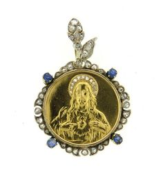 18K Gold Diamond Blue Stone Jesus Pendant Featured in our upcoming auction on July 26!