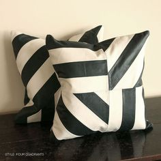 Black and White Leather Pillow - All Leather Designs - All Soft Goods - Decorative Throw Pillows - Leather Pillows - New Arrivals - Pfeifer Studio Exclusives @ Pfeifer Studio- Detail