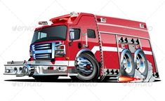 Vector Cartoon Fire Truck #GraphicRiver Vector cartoon rescue ruck. Available hi-res JPG, EPS-10, and AI-CS4 vector formats separated by groups and layers with transparency effects. Also you can check at my Collections: Vector Cartoon Cars Vector Cartoon Trucks Detailed Vector Cars modern and retro Detailed Vector Trucks Vans Tractors and Pickups Detailed Vector realistic and cartoon styled Buses Vector aircrafts, airplanes, retro, modern, blueprints, silhouettes and aerial backgrouds…