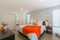Mapua41South Orange Apartment bedroom Orange House, Holiday Accommodation, Breezeway, Bedroom Apartment, Indoor Outdoor, Modern, Furniture, Home Decor, Trendy Tree