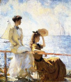 Summer Day 1911 Painting By Frank Weston Benson - Reproduction Gallery Art And Illustration, American Impressionism, Inspiration Art, Impressionist Paintings, Art Paintings, Art Moderne, Arctic Monkeys, Oeuvre D'art, American Artists