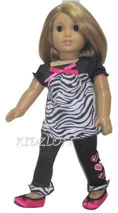Zebra Top & Heart Pants & Shoes Doll Clothes For 18 Inch American Girl Dolls.  3 Piece Set includes shoes!  Dazzling Designs Doll Boutique
