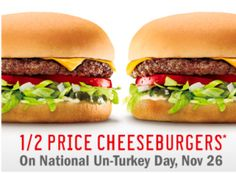 Sonic Drive-In: Half Price Cheeseburgers (11/26 Only)