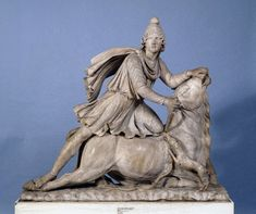 Marble statue of Mithras slaying the bull.