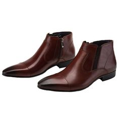 Santimon Men's Chelsea Dress Boots Cap Toe Ankle Classic Leather with Side Zipper brown 10 D(M) US