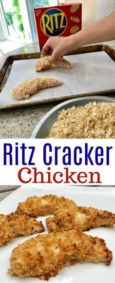 Easy Chicken Recipes - Ritz Cracker Chicken - One Hundred Dollars a Month If you have a couple of chicken breasts, 2 sleeves of Ritz Crackers and a stick of butter in the refrigerator, well the Recipe For Ritz Cracker Chicken, Ritz Cracker Recipes, Chicken With Ritz Crackers, Ritz Cracker Chicken Casserole, Chicken Recipes For Kids, Recipes With Ritz Crackers, Hamburger Recipes, Cheap Recipes For Families, Dinner Recipes For Kids