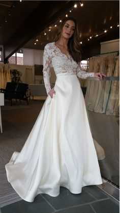 Illusion Lace Bodice Satin Wedding Dress with Long Sleeves