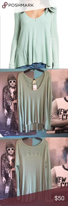NWT Free People mint malibu thermal shirt NWT! such a pretty top!! it's so comfortable and soft, perfect for just about anything. bundle 2+ items for a 10% discount, let me know if you have any questions :) Free People Tops Tees - Long Sleeve