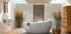 Gallery of Natural Bathroom Design with Unique Bathtubs Design by Villeroy Simple Bathroom Designs, Modern Bathroom Design, Bath Design, Toilet Design, Shower Designs, Sink Design, Classic Bathroom, Design Design, Natural Bathroom
