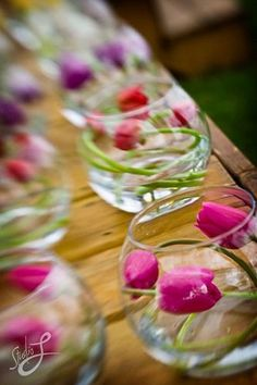 Tulip centerpieces. But Purple