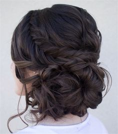 18 Stylish Long Braided Hairstyles for Special Occasions | http://www.meetthebestyou.com/18-stylish-long-braided-hairstyles-for-special-occasions/ Prom Updo Hairstyles, Long Hair Wedding Updos, Prom Hair With Braid, Long Prom Hair, Loose Curly Updo, Prom Hair Updo Elegant, Hairstyles For Long Hair Prom, Updos With Braids, Prom Hair Bun